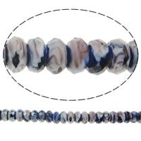 European Kristall Perlen, Millefiori Kristall, Rondell, ohne troll, 14x7mm, Bohrung:ca. 5mm, 50PCs/Strang, verkauft per 14 ZollInch Strang