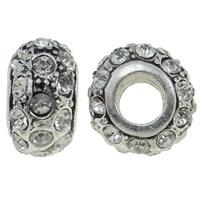 Strass Perlen European Stil, Zinklegierung, Rondell, Sterling Silber single-Core ohne troll & mit Strass, klar, 12.50x13.50x8mm, Bohrung:ca. 5mm, ca. 10PCs/Tasche, verkauft von Tasche