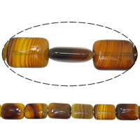 Natürliche Kaffee Achat Perlen, Rechteck, Streifen, 30x22x5mm, Bohrung:ca. 1mm, Länge:ca. 15 ZollInch, 5SträngeStrang/Menge, 13PCs/Strang, verkauft von Menge