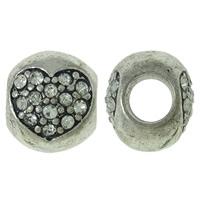 Zink Legierung Europa Perlen, Zinklegierung, Trommel, antik silberfarben plattiert, mit einem Muster von Herzen & ohne troll & mit Strass, frei von Nickel, Blei & Kadmium, 11x10x10mm, Bohrung:ca. 5mm, 10PCs/Tasche, verkauft von Tasche