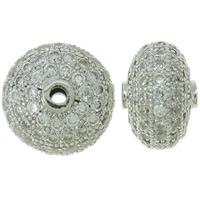 Befestigte Zirkonia Perlen, Messing, Rondell, Platinfarbe platiniert, Micro pave Zirkonia, frei von Nickel, Blei & Kadmium, 14x9mm, Bohrung:ca. 2mm, verkauft von PC