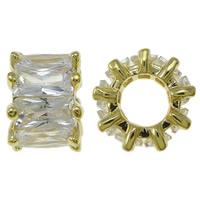 Kubischer Zirkonia Messing Perlen, Blume, goldfarben plattiert, mit kubischem Zirkonia, frei von Nickel, Blei & Kadmium, 9x6.5mm, Bohrung:ca. 4.5mm, verkauft von PC