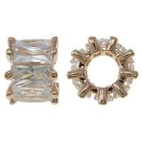 Kubischer Zirkonia Messing Perlen, Blume, Rósegold-Farbe plattiert, mit kubischem Zirkonia, frei von Nickel, Blei & Kadmium, 9x6.5mm, Bohrung:ca. 4.5mm, verkauft von PC