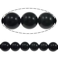Schwarze Obsidian Perlen, Schwarzer Obsidian, rund, natürlich, 6mm, Bohrung:ca. 0.8mm, Länge:ca. 15 ZollInch, 5SträngeStrang/Menge, ca. 60PCs/Strang, verkauft von Menge