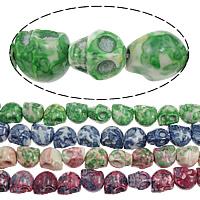 Regen Blumen Stein Perlen, Schädel, gemischte Farben, 10x12x12mm, Bohrung:ca. 1.5mm, Länge:ca. 16 ZollInch, 10SträngeStrang/Menge, ca. 34/Strang, verkauft von Menge