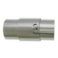 Edelstahl Magnetverschluss, 304 Edelstahl, Rohr, originale Farbe, 17.50x7x8mm, Bohrung:ca. 5mm, 50PCs/Menge, verkauft von Menge