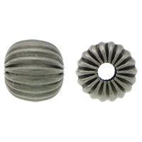 Edelstahlwell Beads, 304 Edelstahl, Trommel, metallschwarz plattiert, gewellt, 7x7.50mm, Bohrung:ca. 2mm, 100PCs/Menge, verkauft von Menge