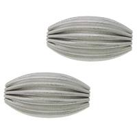 Edelstahlwell Beads, 304 Edelstahl, oval, gewellt, originale Farbe, 12x7mm, Bohrung:ca. 2mm, 100PCs/Menge, verkauft von Menge