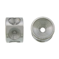 Edelstahl Perlen Einstellung, 304 Edelstahl, Rondell, originale Farbe, 3.50x5mm, Bohrung:ca. 1mm, Innendurchmesser:ca. 2mm, 500PCs/Menge, verkauft von Menge