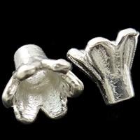 Zinklegierung Perlenkappe, Blume, hell silberfarben plattiert, frei von Nickel, Blei & Kadmium, 5x4.5mm, Bohrung:ca. 1mm, ca. 5000PCs/kg, verkauft von kg