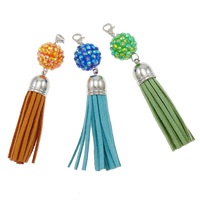 Zinc Alloy Hanging Decoration, with Velveteen Cord, platinum color plated, with resin rhinestone, mixed colors, nickel, lead & cadmium free, 90mm, Hole:Approx 3-5mm, Length:Approx 3.5 Inch, 20Strands/Bag, Sold By Bag