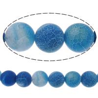 Natürliche Effloresce Achat Perlen, Auswitterung Achat, rund, verschiedene Größen vorhanden, blau, Bohrung:ca. 1-1.2mm, verkauft per ca. 15 ZollInch Strang