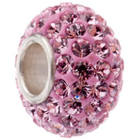Rhinestone Brass European Beads, rhinestone clay pave, Rondelle, silver color plated, brass single core without troll, more colors for choice, nickel, lead & cadmium free, 9x13mm, Hole:Approx 4.5mm, Sold By PC