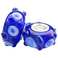 Lampwork Perlen European Stil, Rondell, handgemacht, mit Blumenmuster & einadriges Kabel Messing ohne troll & uneben, blau, frei von Nickel, Blei & Kadmium, 15x7mm, Bohrung:ca. 5mm, 100PCs/Tasche, verkauft von Tasche