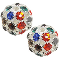 Round Rhinestone Beads, Brass, Drum, silver color plated, multi-colored, lead & cadmium free, 18x17mm, Hole:Approx 3mm, 50PCs/Bag, Sold By Bag