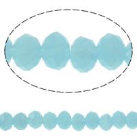 Klasse AA Kristallperlen, Kristall, Rondell, facettierte & AA grade crystal, heller Saphir, 4x3mm, Bohrung:ca. 1mm, Länge:ca. 19 ZollInch, 10SträngeStrang/Tasche, verkauft von Tasche