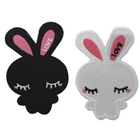 Cloth Iron-on Patches, Rabbit, more colors for choice, 72x110mm, Sold By PC