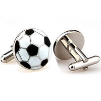 Zinc Alloy Cufflinks, Football, platinum color plated, 2014 Brazil World Cup gift & enamel, nickel, lead & cadmium free, 20x20mm, 50Pairs/Bag, Sold By Bag