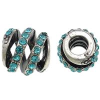Strass Zinklegierung Perlen, Trommel, antik silberfarben plattiert, mit Strass, frei von Nickel, Blei & Kadmium, 11x12mm, Bohrung:ca. 4.5mm, 10PCs/Tasche, verkauft von Tasche