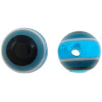Harz Evil Eye Perlen, rund, Streifen, säurenblau, 8mm, Bohrung:ca. 2mm, 1000PCs/Tasche, verkauft von Tasche