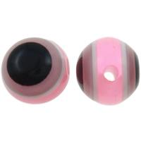Harz Evil Eye Perlen, rund, Streifen, helles Rosa, 8mm, Bohrung:ca. 2mm, 1000PCs/Tasche, verkauft von Tasche