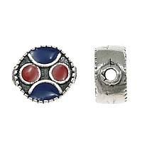 Bali Sterling Silber Perlen, Thailand, flache Runde, Emaille, 11x11x6mm, Bohrung:ca. 2mm, 5PCs/Menge, verkauft von Menge