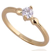 Gets® Finger Ring, Messing, 18 K vergoldet, mit kubischem Zirkonia, frei von Nickel, Blei & Kadmium, 4mm, Größe:7.5, verkauft von PC