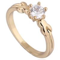 Gets® Finger Ring, Messing, 18 K vergoldet, mit kubischem Zirkonia, frei von Nickel, Blei & Kadmium, 5mm, Größe:6.5, verkauft von PC