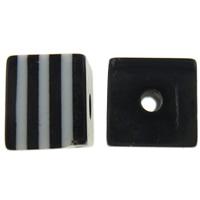 Gestreifte Harz Perlen, Würfel, Streifen, schwarz, 8x7x8mm, Bohrung:ca. 2mm, 1000PCs/Tasche, verkauft von Tasche