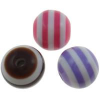 Harz Evil Eye Perlen, rund, Streifen, gemischte Farben, 10mm, Bohrung:ca. 2mm, 1000PCs/Tasche, verkauft von Tasche