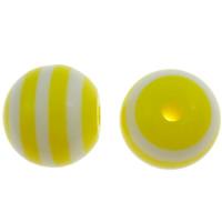 Gestreifte Harz Perlen, rund, Streifen, gelb, 12mm, Bohrung:ca. 2mm, 1000PCs/Tasche, verkauft von Tasche