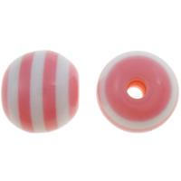 Gestreifte Harz Perlen, rund, Streifen, Rosa, 8mm, Bohrung:ca. 2mm, 1000PCs/Tasche, verkauft von Tasche