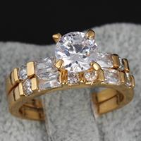 Gets® Finger Ring, Messing, 18 K vergoldet, für paar & mit kubischem Zirkonia, frei von Nickel, Blei & Kadmium, 6mm, Größe:8, verkauft von Paar
