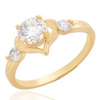 Gets® Finger Ring, Messing, 18 K vergoldet, mit kubischem Zirkonia, frei von Nickel, Blei & Kadmium, 5mm, Größe:7, verkauft von PC