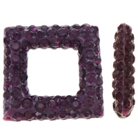 Halb gebohrte Strass Perlen, Ton, Rhombus, halbgebohrt, violett, 15.50x15.50x4mm, Bohrung:ca. 0.3-0.8mm, 3PCs/Tasche, verkauft von Tasche