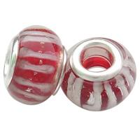 Lampwork Perlen European Stil, Rondell, handgemacht, Messing-Dual-Core ohne troll & Streifen, rot, frei von Nickel, Blei & Kadmium, 8.5x14mm, Bohrung:ca. 5mm, 50PCs/Tasche, verkauft von Tasche