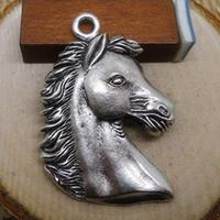 Zinklegierung Tier Anhänger, Pferd, antik silberfarben plattiert, frei von Nickel, Blei & Kadmium, 41x29mm, Bohrung:ca. 1-3mm, 100PCs/Menge, verkauft von Menge
