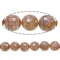 Natürliche Rosa Muschelperlen, rund, Mosaik, 16mm, Bohrung:ca. 1mm, ca. 25PCs/Strang, verkauft per ca. 15.5 ZollInch Strang