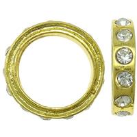 Zinklegierung Verbindungsring, Kreisring, goldfarben plattiert, mit Strass, frei von Nickel, Blei & Kadmium, 18x4mm, Bohrung:ca. 13mm, 10PCs/Tasche, verkauft von Tasche