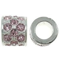Strass Zinklegierung Perlen, Trommel, silberfarben plattiert, mit Strass, frei von Nickel, Blei & Kadmium, 10x8mm, Bohrung:ca. 6mm, 10PCs/Tasche, verkauft von Tasche
