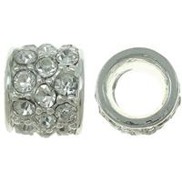 Strass Zinklegierung Perlen, Trommel, silberfarben plattiert, mit Strass, frei von Nickel, Blei & Kadmium, 12x9.5mm, Bohrung:ca. 6.5mm, 10PCs/Tasche, verkauft von Tasche