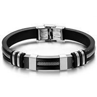 Herren-Armband & Bangle, Edelstahl, mit Silikon, plattiert, schwarz, 9mm, verkauft per 8.5 ZollInch Strang