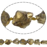 Natürliche Beschichtung Quarz Perlen, Natürlicher Quarz, Klumpen, goldfarben plattiert, 21-26mm, Bohrung:ca. 3mm, Länge:ca. 15.7 ZollInch, 5SträngeStrang/Menge, ca. 15PCs/Strang, verkauft von Menge