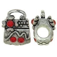 Zinklegierung Stiftöse Perlen, Handtasche, antik silberfarben plattiert, mit Strass, frei von Nickel, Blei & Kadmium, 11x14x10mm, Bohrung:ca. 5x3mm, 10PCs/Tasche, verkauft von Tasche