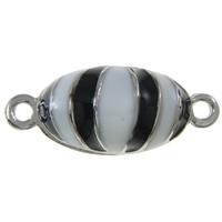 Zinklegierung Magnetverschluss, oval, Platinfarbe platiniert, Emaille & Einzelstrang, frei von Nickel, Blei & Kadmium, 20x9x8mm, Bohrung:ca. 2mm, 10PCs/Tasche, verkauft von Tasche