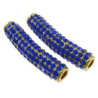 Strass Schmuckperlen, Zinklegierung, Rohr, goldfarben plattiert, mit Strass, blau, frei von Nickel, Blei & Kadmium, 38x11x9mm, Bohrung:ca. 4mm, 10PCs/Tasche, verkauft von Tasche