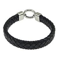 Herren-Armband & Bangle, Kuhhaut, Edelstahl Verschluss, schwarz, 12mm, 20mm, Länge:ca. 8 ZollInch, 5SträngeStrang/Menge, verkauft von Menge