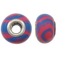 European Polymer Ton Schmuckperlen , Rondell, Platinfarbe platiniert, Messing-Dual-Core ohne troll & Streifen, frei von Nickel, Blei & Kadmium, 15x11mm, Bohrung:ca. 5mm, 10PCs/Tasche, verkauft von Tasche