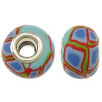 European Polymer Ton Schmuckperlen , Rondell, Platinfarbe platiniert, Messing-Dual-Core ohne troll, frei von Nickel, Blei & Kadmium, 15x11mm, Bohrung:ca. 5mm, 10PCs/Tasche, verkauft von Tasche