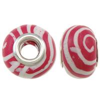 European Polymer Ton Schmuckperlen , Rondell, Platinfarbe platiniert, Messing-Dual-Core ohne troll, Rosa, frei von Nickel, Blei & Kadmium, 15x11mm, Bohrung:ca. 5mm, 10PCs/Tasche, verkauft von Tasche